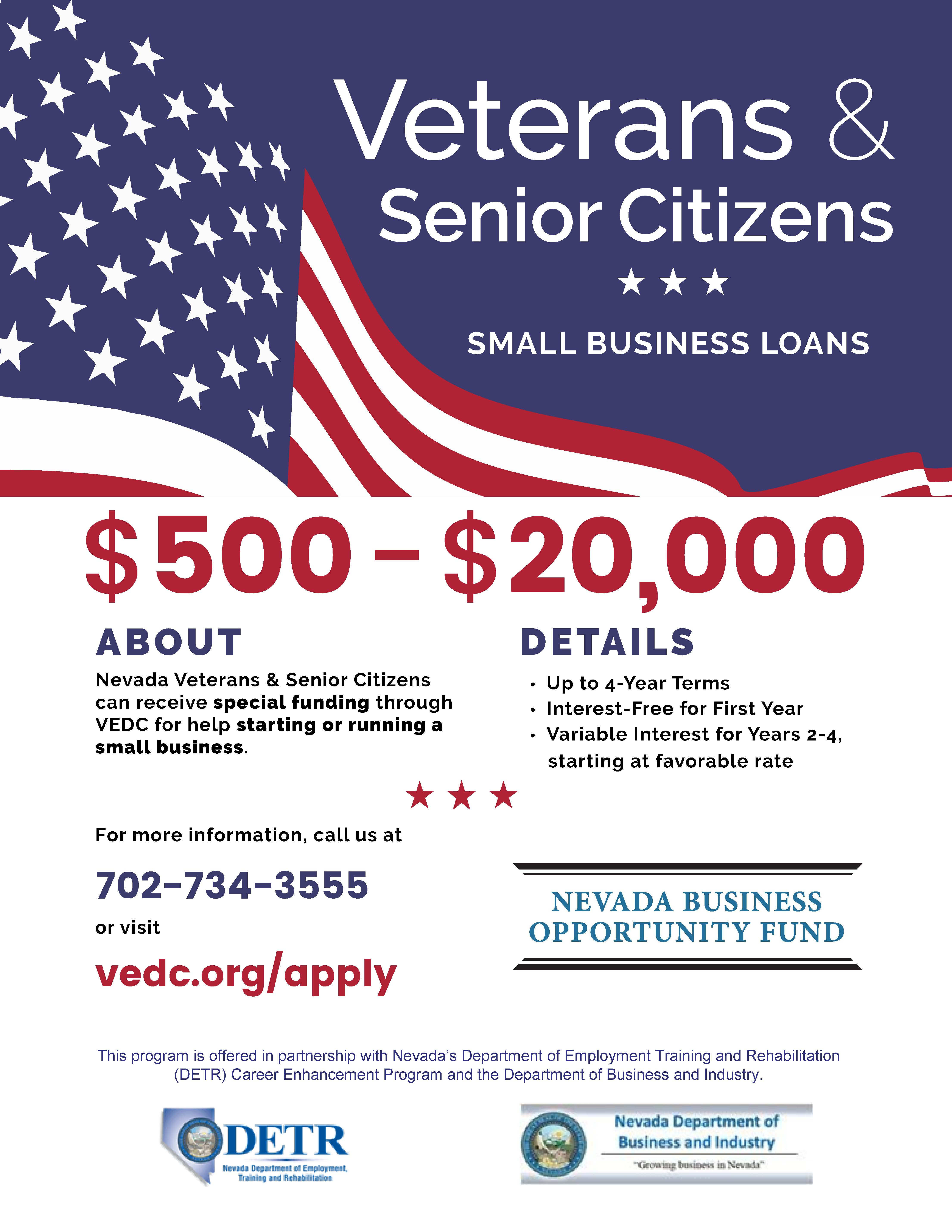 Vets and Seniors loan flyer