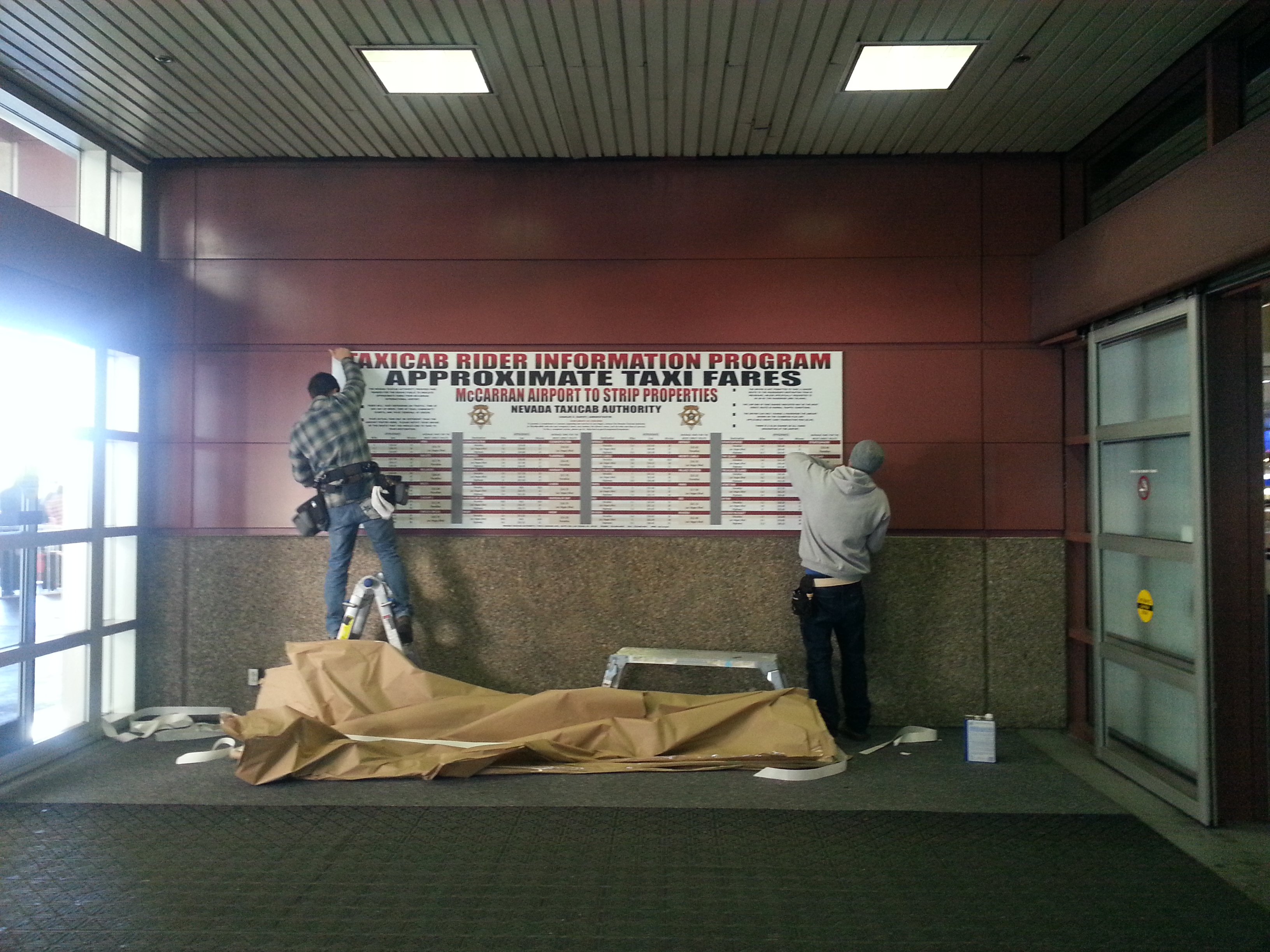 Signage being installed on January 16